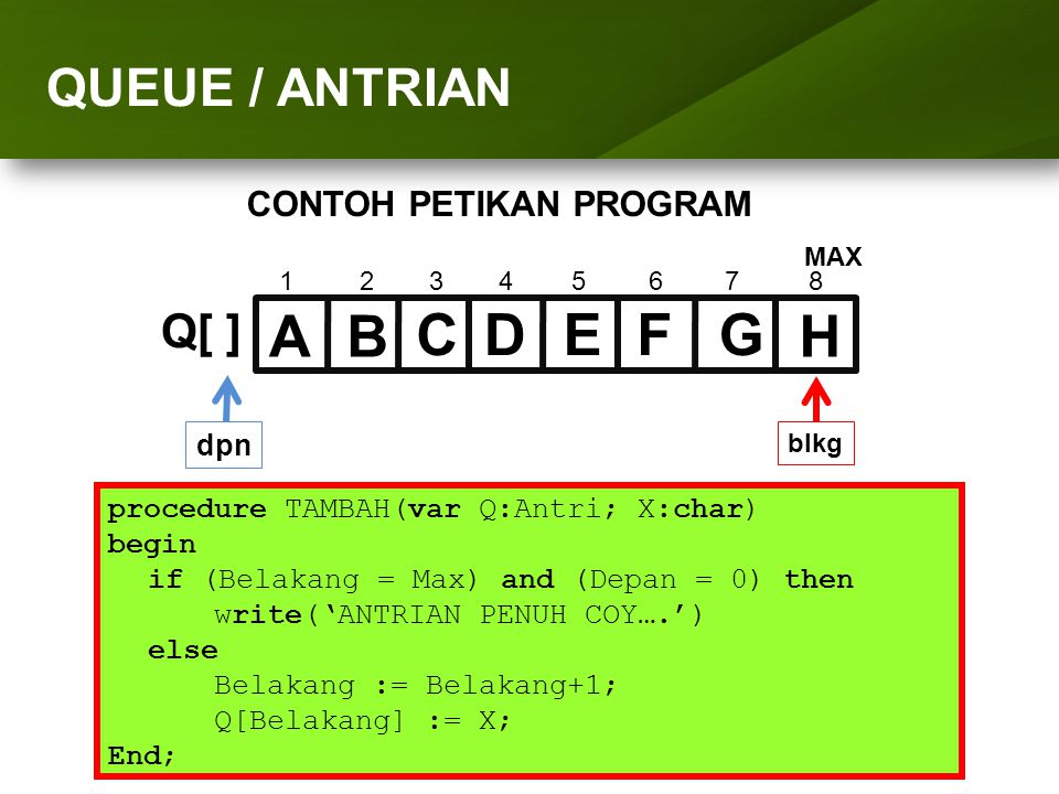 ARRAY (LARIK) D E F G H A B C QUEUE / ANTRIAN Q[ ]